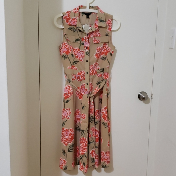 Banana Republic Tan Floral Fit and Flare Dress NWT